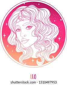 Illustration of Leo astrological sign as a beautiful girl. Zodiac vector illustration isolated on white. Future telling, horoscope, alchemy, spirituality, occultism, fashion woman.