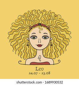 Illustration of Leo zodiac sign. Element of Fire. Beautiful Girl Portrait. One of 12 Women in Collection For Your Design of Astrology Calendar, Horoscope, Print. Vector illustration