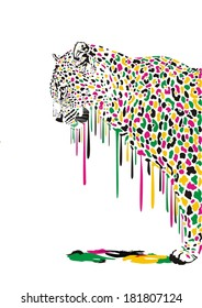 Illustration of leopard in abstract colors melts