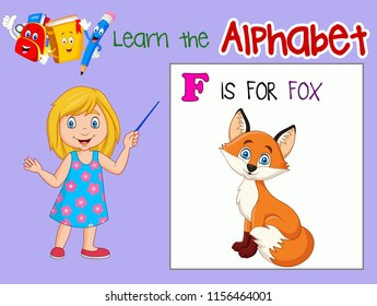 Illustration of letter F is for Fox