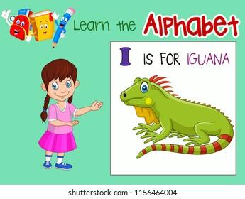 Illustration of letter I is for Iguana