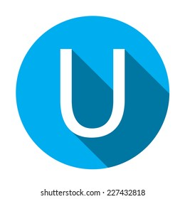 A Illustration of a Letter with a Long Shadow - Letter U