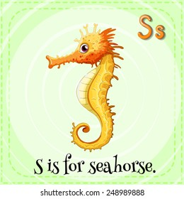 Illustration of a letter S is for seahorse
