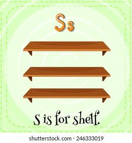 Illustration of a letter S is for shelf