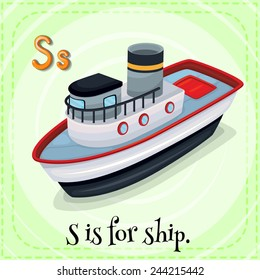Illustration of a letter S is for ship