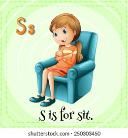 Illustration of a letter S is for sit