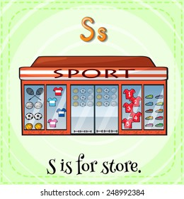Illustration of a letter S is for store