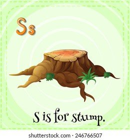 Illustration of a letter S is for stump
