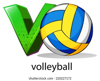 Illustration of  a letter V for volleyball on a white background