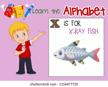 Illustration of letter X is for X-Ray Fish