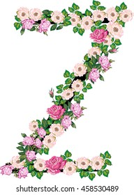 illustration with letter Z from rose and brier flowers isolated on white background
