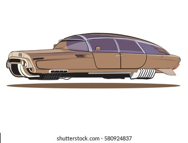illustration levitate vehicle, flying cars of the future, retro future
