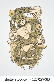 "An illustration of libra. But instead of 2, she is holding 3 scales which depicted good, evil and ""grey"" judgement. Best use for printed/screenprinted t-shirt, tattoo or poster."
