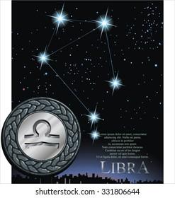 Illustration of Libra zodiac sign. Scale zodiac poster.
