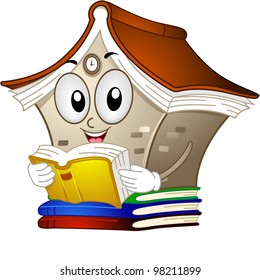 Illustration of a Library Mascot Reading a Book