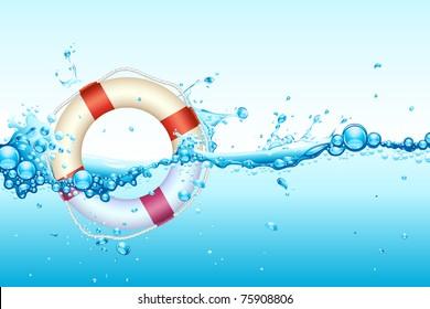 illustration of lifebouy in splash of wavy water