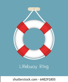 Illustration of lifebuoy ring with rope isolated on blue  background, Vector design element.