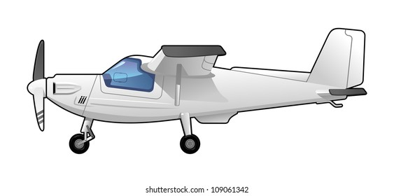 illustration of a light aircraft.  Simple gradients only - no gradient mesh.