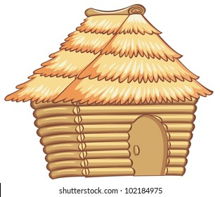 illustration of a light colorded hut