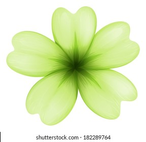 Illustration of a light green flower on a white background