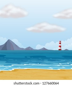 Illustration of a light house and a beach