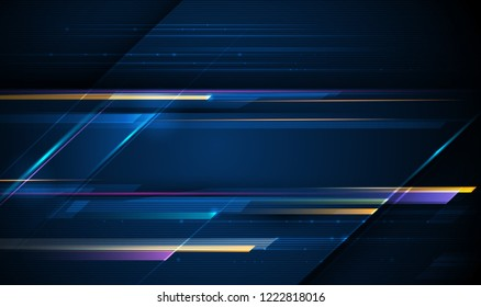 Illustration of light ray, stripe line with blue light, speed motion background.