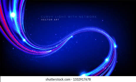 Illustration of light speed effect in vector. It is suitable for being used as a background or template in science or technology related theme such as: plasma, light speed, warping, data transferring,