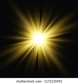 Illustration of the light of a star vector for a beautiful image on a transparent background, with glare and beautiful shine