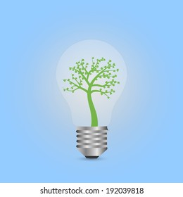 Illustration of a lightbulb tree on a colorful background.