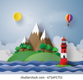 illustration of lighthouse with island and seascape. Paper art and  digital craft style.
