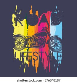illustration I like motorcycles, vector template for design t-shirts, graphic