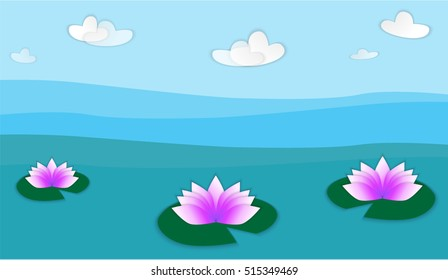 the illustration of the lilies in the water