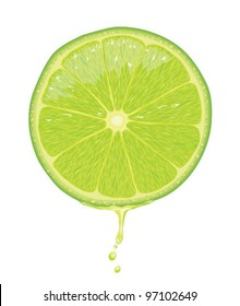 Illustration of a lime slice with juice dripping