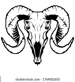 illustration of line art with animal themes using goat skull objects