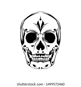 Illustration line art dark skull