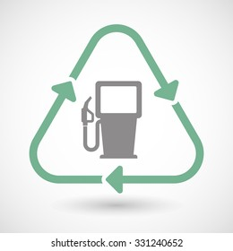 Illustration of a line art recycle sign icon with a gas station