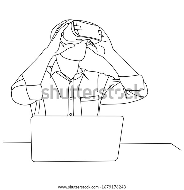 Illustration line drawings a young man sitting uses Virtual Reality glasses when playing games. Head position looked up while wearing virtual reality helmet with laptop on table. Wearing VR glasses