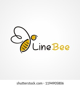 Illustration of line flying bee