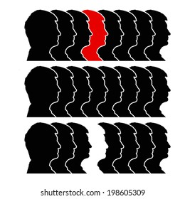 illustration of line of head silhouettes in black color and one red or white. isolated
