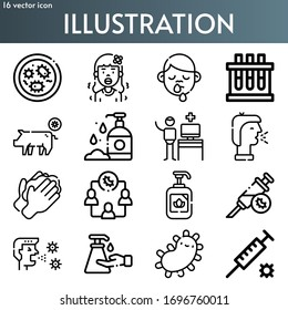 illustration line icon set on theme coronovirus. Included icons as bacteria, fever, runny nose, blood sample, pig, hand wash, online assistance, cough, washing hands and more