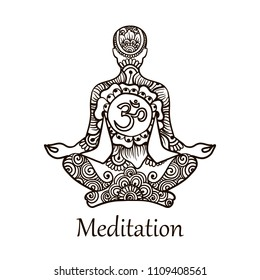 Illustration in Linear Engraving Style. A man of meditation with symbol Om. Symbol of Buddhism. Mehndi pattern with meditator. Hand drawn Vector Isolated Illustration