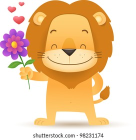 Illustration of Lino the Lion Holding a Flower
