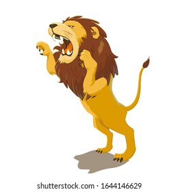 Illustration of a lion attacking. Vector illustration on white background.