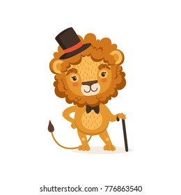 Illustration of lion cartoon character with black cane and wearing elegant cylinder hat and bow tie. Animal with lush mane. Flat vector