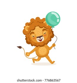 Illustration of lion cartoon character walking with blue balloon in paw. Adorable colorful children print for t-shirt or book. Flat design vector