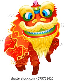 Illustration of a Lion Dance Costume for Chinese New Year