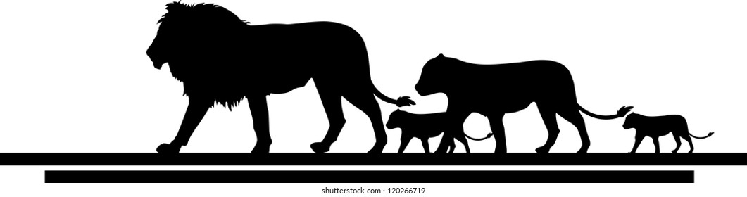 illustration of lion family trip
