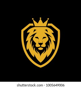 illustration lion king shield logo