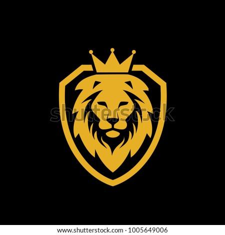 illustration lion king shield logo のベクター画像素材 ロイヤリティ