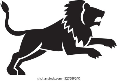 Illustration of a lion silhouette jumping viewed from the side set on isolated white background done in retro style.